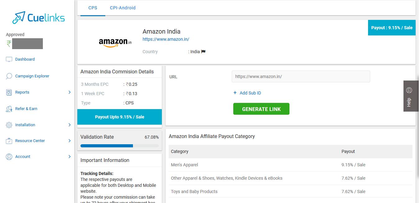 Amazon India Affiliate Program