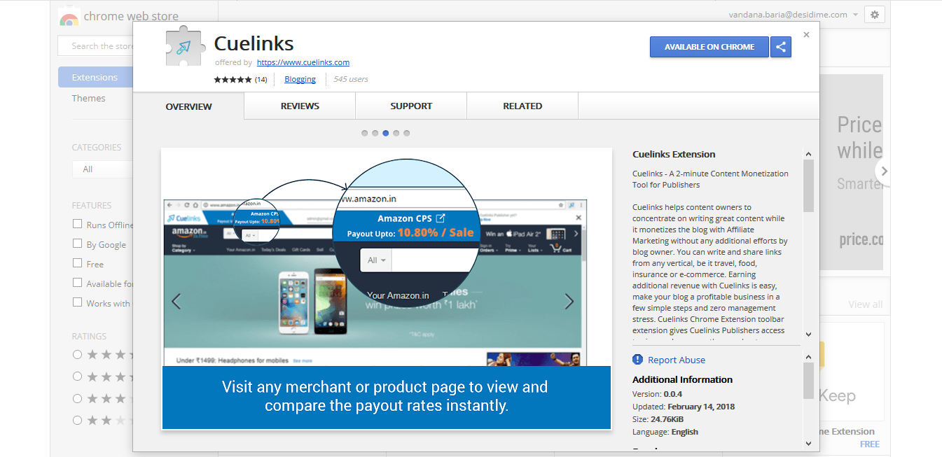 Cuelinks Google Chrome extension
